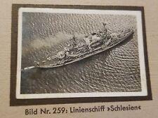 1933 Zeppelin Weltfahrten Cigarette Card Photo 259  German Battleship Schlesien