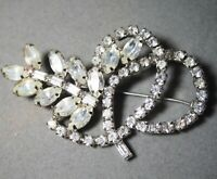 VINTAGE CLEAR RHINESTONE PRONG SET CRYSTAL PIN BROOCH SILVER TONE