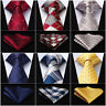 "HISDERN Men's Ties Check 3.4""Silk Woven Necktie Wedding Handkerchief Set#RC1"