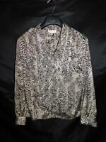Vintage 80s L Stuart Lang Brown Black Tiger Stripe Blouse Long Sleeve Shirt Lg