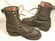 """Chippewa Mens Boots 9+"""" Steel Toe Logger Black Leather Waterproof US 9.5 Lace Up"""