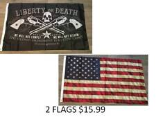 2 Flags Liberty or Death 2nd Amendment Skull Right to Bear Arms USA WEATHERED