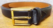 Ermenegildo Zegna Leather Belt-Vera Pelle-105 120-Black-ItalyMetal Buckle-