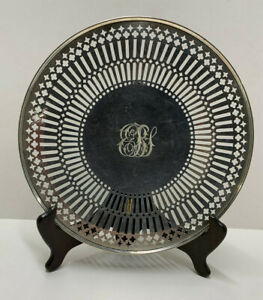 """RW&S Sterling Silver C1388 Reticulated Monogrammed 9.5"""" Serving Tray; 268 grams"""