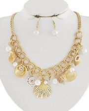 ESMOR Gold Chain Crystal Pearl Natural SEASHELL Necklace & Earrings Set NWT