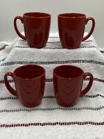 Set of 4 Corelle Stoneware ALL RED Mugs / Cups