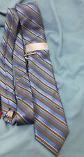 APT. 9  Mens Blues and Black Striped Neck Tie with Clip