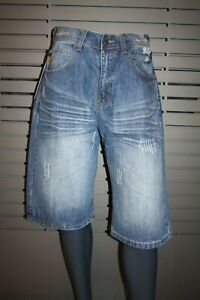 Makaveli By Tupac Jeans Shorts Logo Stone Blue Rinse New Vintage