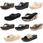 Womens Dunlop Toe Post Sandals Summer Shoes Ladies Platform Wedge Sandals Size