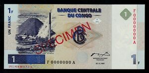 CONGO DEMOCRATIC REPUBLIC  SPECIMEN 1 FRANC 1997 PICK # 85  UNC
