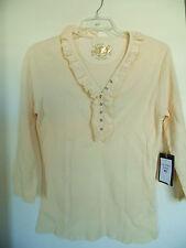 US Polo Assn Yellow Thermal  Ruffle V Neck Knit Shirt Top Sz L