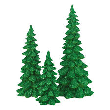 Department 56 Green Holiday Trees Set of 3 Snow Village 4047559 Dept 56