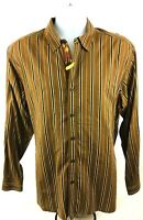 Tommy Bahama Men's Long-sleeve Button Down Casual Brown Striped Shirt Size L