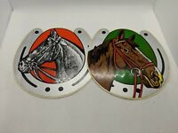 Lot of 2 Large Horse and Horseshoe Stickers - Vintage