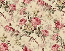 Dollhouse Miniature Shabby Chic Wallpaper Mauve Roses on Tan Floral 1:12 Flowers