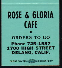 DELANO CA Rose & Gloria Cafe Vintage Restaurant Match Book Cover Old Advertising