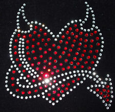DEVIL HEART iron-on rhinestone diamante MOTIF CRYSTAL TRANSFER applique Gothic