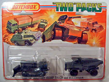 Matchbox TP-16 Military Dump Truck  & Bulldozer rare olive drab mint on card