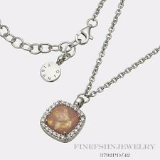Authentic Sterling Silver Ti Sento Milano CZ Dusted Rose Pendant Neckace 3792PD