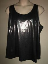 Livi Active Lane Bryant Athletic Tank Plus Size 26/28 Metallic Silver Black NWOT