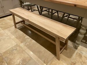 Solid Oak Wood Dining Seating Bench Furniture 120 x 45 x 30 Cm