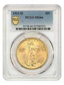1911-D $20 PCGS MS66 - Superb Gem! - Saint Gaudens Double Eagle - Gold Coin