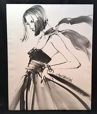 Canvas Art Print Black & White Fashion Model In Dress