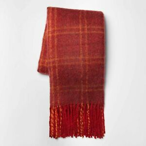 Faux Mohair Grid Throw Blanket - Threshold Berry 60 x 50 Inches NWT