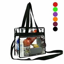 """Stadium Approved Clear Tote Bag w/ sturdy Zipper & Adjustable Straps 12""""X6""""X12"""""""