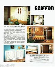 PUBLICITE ADVERTISING 116  1978  lits escamotables  Griffon meubles