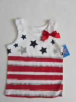 NWT Pariotic 4th of July Glitter Tank Top with Bow Accent Toddler Girls 2T