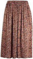 Womens Plus Size Skirt Ladies Floral Animal Print Elasticated Waist Flared Midi