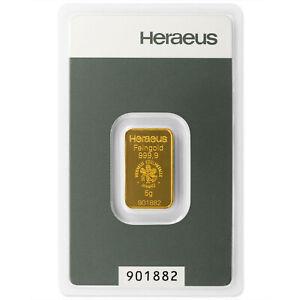 5g 5 g 5 Gramm Goldbarren Heraeus Feingold  mit Zertifikat in Blister