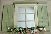 Home Interiors Window Pane Mirror with shutters Rustic Green Color
