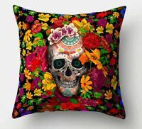Sugar Skull Tattoo   Throw Pillow Case Cushion Cover steampunk  flowers mexican