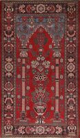 Vintage RED Pictorial Traditional Hand-knotted Area Rug Wool Oriental 4x7 Carpet