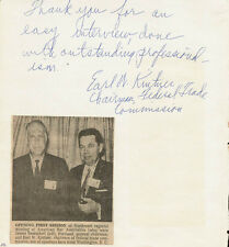 EARL KINTNER - AUTOGRAPH NOTE SIGNED