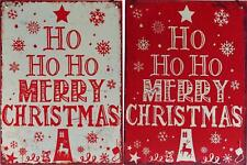 Set Of 2 Metal Red White Ho Ho Merry Christmas Signs / Wall Plaques