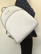 NWT MICHAEL KORS ABBEY LARGE BACKPACK BAG MK SIGNATURE PVC BRIGHT WHITE MULTI