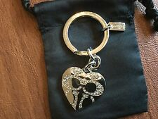 NEW Coach Heart Locket Pave Crystal Key Fob/ Key Ring /Charm #92416