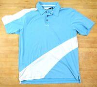 Oakley Mens Sz Large Baby Blue & White Short Sleeve Polo, Golf Shirt MS4