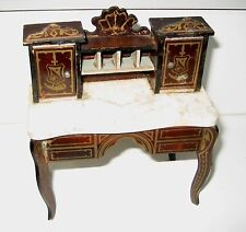 Antique miniature German Boule Biedermeier furniture gilt Secretary desk