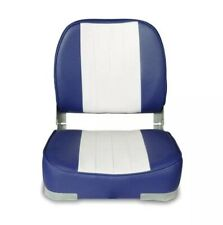 Blue/White Boat Seat Low Back Comfortable Padded Bass Folding Fishing Chair