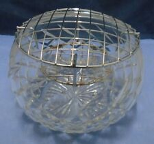 Royal Brierley Crystal Cut Glass Bowl With Wire Frog