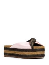 NIB NEW Fendi twist blue pink logo espadrille slide sandals 36 36.5 38.5 40
