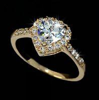 18K Rose Gold GP love heart Swarovski Crystal sparkly Ring wedding ring R17e
