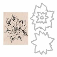 """Hero Arts """"Poinsettia"""" Rubber Wood Stamp + Coordinating Frame Cuts Dies"""