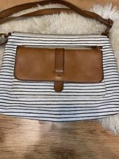 Fossil Brown Leather In Cotton Purse Adjustable Strap