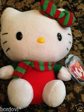 Ty Beanie Baby Hello Kitty (Christmas Outfit Red Scarf) Mint Tag Protecter! New