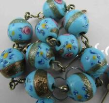 Antique Venetian Aventurine Roses Fancy Blue Trade Beads Glass Necklace